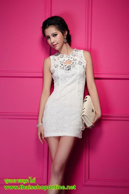 ชุดเดรส ชุดเดรสสั้น แฟชั่นเกาหลี ชุดเดรสลูกไม้ แขนกุด สีขาว น่ารัก ใส่ทำงาน ใส่ไปงานแต่งงาน ใส่เป็นชุดทำงาน สวยมากๆครับ (พร้อมส่ง)