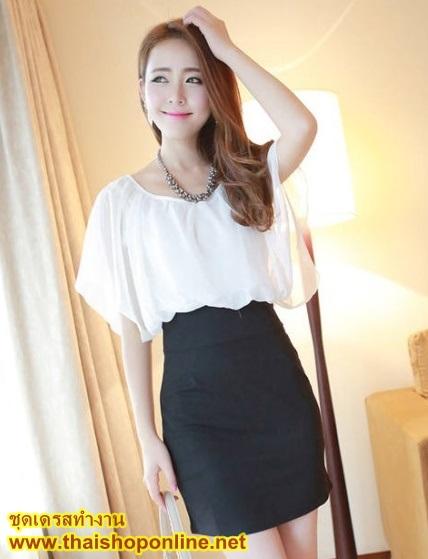 ชุดเดรสทำงาน ออฟฟิศ แฟชั่นเกาหลี เสื้อสีขาว ผ้าชีฟอง กระโปรงเข้ารูปสีดำ ใส่ทำงานสวยมากๆครับ thaishoponline (พร้อมส่ง)