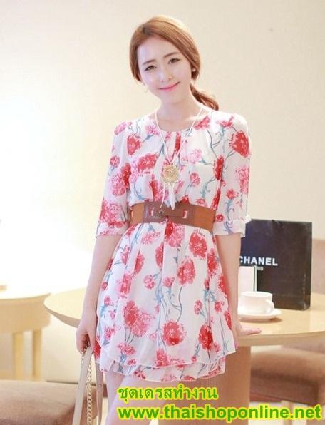 fashion ชุดทำงาน ชุดเดรสทำงาน แฟชั่นเกาหลี ลายดอกไม้ สีแดง ผ้าชีฟอง แถมเข็มขัดสีน้ำตาล (พร้อมส่ง)