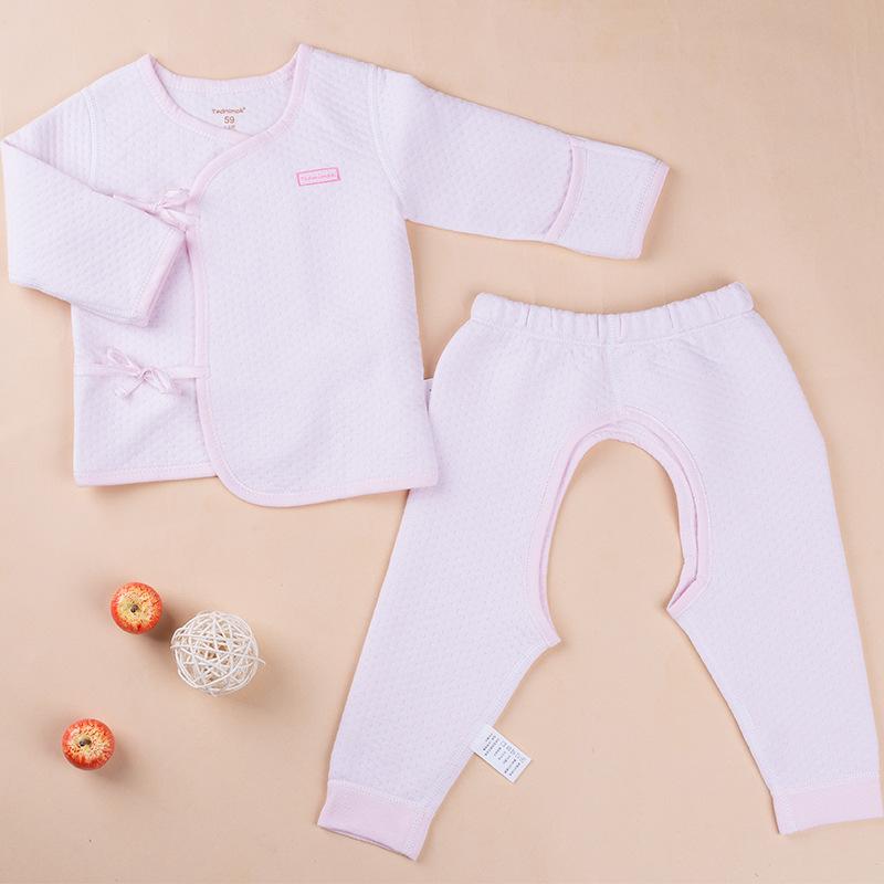 พร้อมส่ง เสื้อผ้าเด็กทารกแรกเกิด ราคาส่งจากโรงงาน ชุดกันหนาว 2 ชิ้น เสื้อแขนยาวผูกข้าง +กางเกงขายาว รหัส T-13036 สีชมพู 1 ชุด ไซร์ 52 (ส่วนสูง 52cm )
