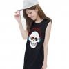 เสื้อยืดแฟชั่นตัวยาว / แซกสั้น แขนกุด ผ้านุ่ม ลาย Skull I (สีดำ)