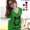 เสื้อยืดแฟชั่น คอวี แขนเบิ้ล ลาย Alarm Clock (Size M: 35) สีเขียว