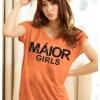 เสื้อยืดแฟชั่น ตัวยาว ผ้าเนื้อนิ่ม ลาย Maior สีส้ม ( ตัวยาว size เล็ก สำหรับสาวสะโพกไม่เกิน 38 นิ้ว)