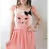 เสื้อผ้าแฟชั่น สุด Chic ชุดเดรส ปักลายแมว แขนล้ำ SU34_1
