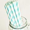 Paper Straws in Aqua Blue & White Stripes