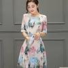 ชุดเดรสสวยๆ ผ้าไหมแก้ว organza สีหวานพาสเทลเหมือนแบบ พิมพ์ลายเด็กผู้หญิง