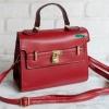 พร้อมส่ง HB-4245 สีแดง กระเป๋าสะพายถือและสะพายข้างนำเข้า แต่งอะไหล่แม่กุญแจ
