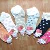S392**พร้อมส่ง** (ปลีก+ส่ง) ถุงเท้าแฟชั่นเกาหลี ข้อสั้น ลายรูปหัวใจ แต่งขอบระบาย เนื้อดี งานนำเข้า(Made in china)