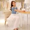 ชุดเดรสยาว ตัวเสื้อผ้ายีนส์ เปิดไหล่ กระดุมผ่าหน้า กระโปรงผ้าชีฟอง สีขาว อัดพลีต สวยมากๆ