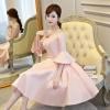ชุดเดรสออกงาน สุดหรู ผ้าไหมเนื้อดีเงาสวย สีชมพู ดีไซน์สวยเปิดไหล่ แขนยาวสี่ส่วน