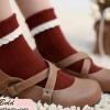 ถุงเท้าน่ารักสไตล์ญี่ปุ่นขอบลูกไม้พับข้อ