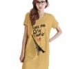 เสื้อยืดแฟชั่น ตัวยาว / แซกสั้น ผ้านุ่ม กระเป๋าข้าง ลาย Paris สีเหลือง