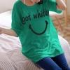 เสื้อยืดเกาหลี ตัวยาว ลาย Got White สีเขียว