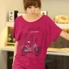 เสื้อยืดแฟชั่น ผ้านุ่ม ชายเสื้อดึงยาง ลาย Bicycle City สีชมพูบานเย็น