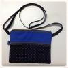 กระเป๋าสะพาย ติดซิป 2 ชั้น ทรงสี่เหลี่ยมแนวนอน สีน้ำเงิน