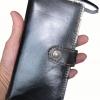กระเป๋าสตางค์ยาว หนังวัวแท้ สีดำ เรียบง่าย หรูหรา ทันสมัย คุ้มค่า ด้วยช่องใส่บัตรต่างๆหลายช่อง