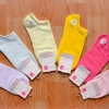 S003 **พร้อมส่ง** (ปลีก+ส่ง) ถุงเท้าแฟชั่น ข้อสั้น ใต้ตาตุ่ม มี 12 คู่ต่อแพ็ค คละ 6 สี เนื้อดี งานนำเข้า(Made in China)