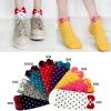 A018**พร้อมส่ง** (ปลีก+ส่ง)ถุงเท้าแฟชั่นเกาหลี โบว์ลายจุด ข้อสั้น มี 8 สี ดำ เทา ฟ้า แดง ม่วง เหลือง ชมพู ขาว เนื้อดี งานนำเข้า (Made in Korea)