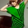 เสื้อยืดแฟชั่น แขนเบิ้ล ลายดาวกราฟิก สีเขียว