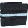กระเป๋าหนังปลากระเบน 2 พับ สีดำ
