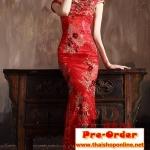 Pre-Order ชุดกี่เพ้าสวยๆ ชุดไปงานแต่งงาน สีแดง แขนสั้น ผ้าเนื้อดีเกรด A อย่างดี เหมาะใส่เป็นชุดออกงาน ชุดไปงานแต่งงานมากๆ