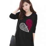 เสื้อยืดเกาหลีแขนยาว ปลายหยัก ผ้า Cotton Combed ลาย Broken Heart สีดำ
