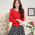แฟชั่นเกาหลี set เสื้อสูท สีแดง และกระโปรง สวยมากๆ