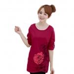 เสื้อยืดแขนยาว ตัวยาว / แซกสั้น ผ้านุ่ม ลาย Beautiful Rose สีชมพูบานเย็น