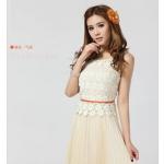 ชุดเดรสออกงานเกาหลี Brand Nicai ชุดเดรสยาว ตัวเสื้อผ้าถักลายดอกไม้สีขาว แขนกุด กระโปรงสีครีมอัดพลีต สวยมากๆครับ (พร้อมส่ง)