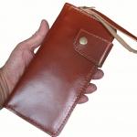 กระเป๋าสตางค์ยาว หนังวัวแท้ สีน้ำตาลอมส้ม เหมือนสีชา เรียบง่าย ทันสมัย คุ้มค่า ด้วยช่องใส่บัตรต่างๆหลายช่อง