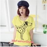 เสื้อยืดแฟชั่น ผ้านุ่ม ลาย Love Me (Size M:32-36 นิ้ว) สีเหลือง