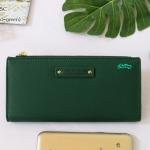 พร้อมส่ง รหัส P7599-25C สีเขียวเข้ม กระเป๋าสตางค์ยาว Forever-young แท้ แต่งโลโก้แบรนด์