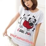 เสื้อยืดแฟชั่น ผ้านุ่ม ลาย Cool Dog (Size M:36 นิ้ว) สีขาว