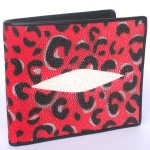 กระเป๋าสตางค์หนังปลากระเบนแท้ ลายเสือ สีแดง สวยงาม หรูหรา Line id : 0853457150