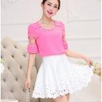 เสื้อชีฟอง สีชมพู แฟชั่นเกาหลีน่ารักสดใส ใส่สบายตัว