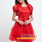 Pre-Order ชุดราตรีสั้น ชุดไปงานแต่งงาน Brand Fu daiyi สีแดง แขนสั้น ตกแต่ง เนื้อผ้าโพลีเอสเตอร์ ยืดหยุ่นดี ไม่ยับง่าย สวยมากๆ