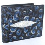 กระเป๋าสตางค์หนังปลากระเบนแท้ ลายเสือ สีน้ำเงิน สวยงาม หรูหรา Line id : 0853457150