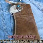 กระเป๋าสตางค์ยาว ขนวัวแท้ Style Cowboy รุ่น กระดุ่มสีตะค็อย