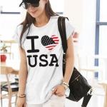 เสื้อยืดแฟชั่น แขนเบิ้ล ผ้าเนื้อนุ่ม ลาย Love USA สีขาว