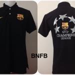 เสื้อโปโล บาร์เซโลน่า ลาย ยูฟ่า แชมเปียนส์ลีก สีดำ BNFB