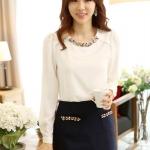 เสื้อทำงาน เสื้อแฟชั่น เสื้อเกาหลี เสื้อแขนยาว ผ้าชีฟอง ประดับพลอยที่คอ เสื้อสีขาว สวยมากๆ (พร้อมส่ง)