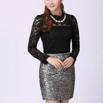 เสื้อผ้าลูกไม้ Brand XIAN ZI เสื้อผ้าทำงานเกาหลี เนื้อนุ่ม ยืดหยุ่นได้ดี สีดำ แขนยาว มีซับใน มาพร้อมสร้อยคอมุกเหมือนแบบ สวยมากๆครับ (พร้อมส่ง)