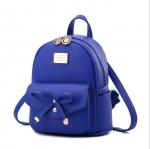 พร้อมส่ง กระเป๋าเป้สะพายหลังผู้หญิง ใบเล็กแต่งโบว์ แฟชั่นเกาหลี รหัส Yi-7855 สีน้ำเงิน 1 ใบ