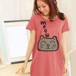 เสื้อยืดเกาหลีตัวยาว /แซ็กสั้น ผ้านุ่ม งานคุณภาพ ลาย แมวเหมียว สีโอรส