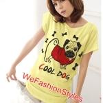 เสื้อยืดแฟชั่น ผ้านุ่ม ลาย Cool Dog (Size M:36 นิ้ว) สีเหลือง