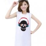 เสื้อยืดแฟชั่นตัวยาว / แซกสั้น แขนกุด ผ้านุ่ม ลาย Skull I (สีขาว)