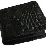 กระเป๋าสตางค์ 2 พับ หนังจระเข้เเท้ หนังต่อเย็บมือ สีดำ