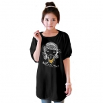 เสื้อยืดแฟชั่นตัวยาว /แซกสั้น แขนบอลลูน ทรงเก๋ ผ้านุ่ม ลาย Cute Girl สีดำ