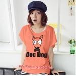 เสื้อยืดแฟชั่น ผ้านุ่ม ลาย Doc Dog (Size M:36 นิ้ว) สีส้ม