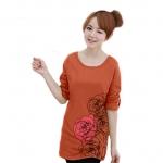 เสื้อยืดแขนยาว ตัวยาว / แซกสั้น ผ้านุ่ม ลาย Beautiful Rose สีส้ม